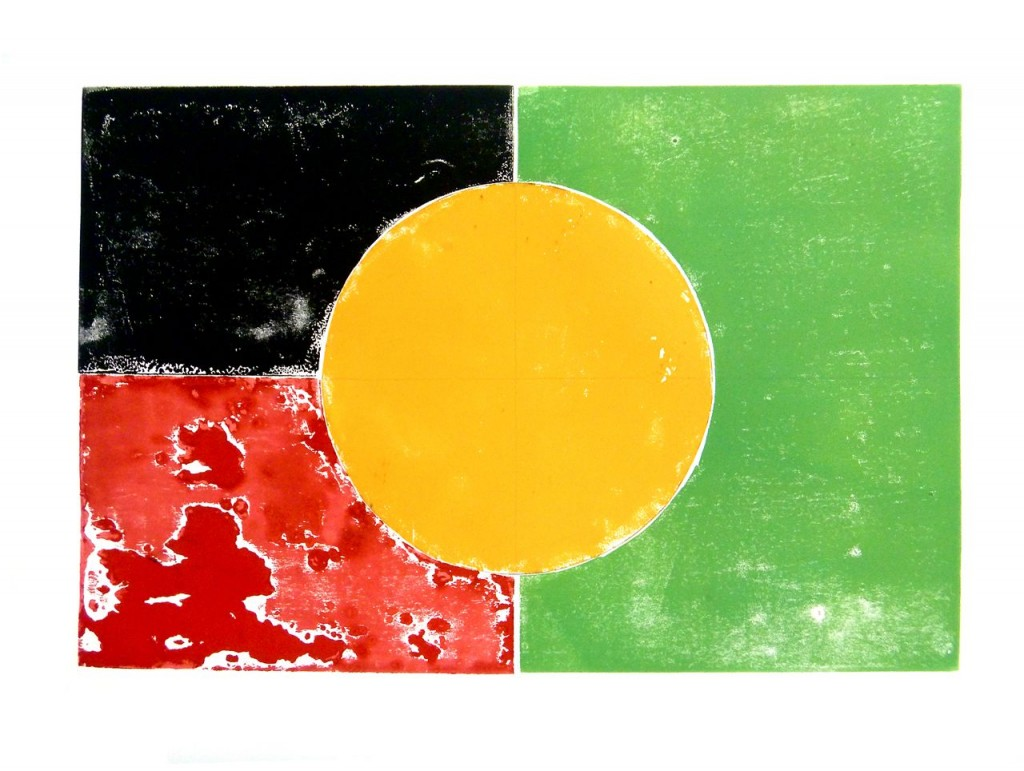 TheGreen&Gold&Red&Black - Woodblock print by Tom CIvil 2012