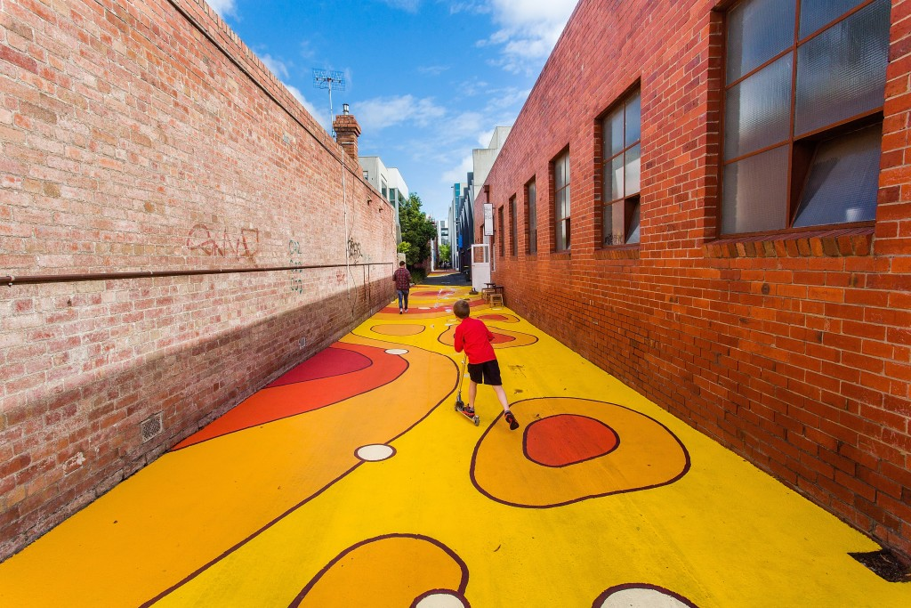 MELBOURNE, AUSTRALIA - OCTOBER 12: A general view of the brightly decorated laneway on Walnut Street in Cremorne on October 12, 2015 in Melbourne, Australia. (Photo by Paul Jeffers/Fairfax Media)